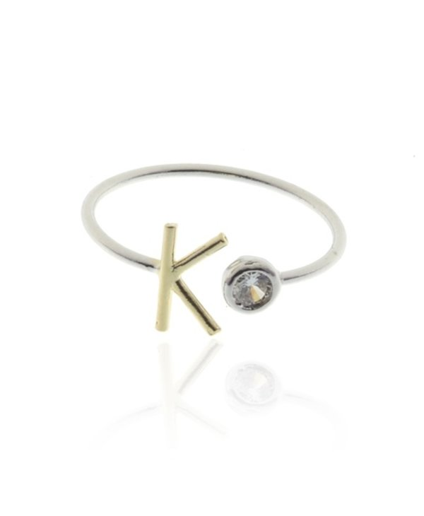 Two Tone Initial K Ring