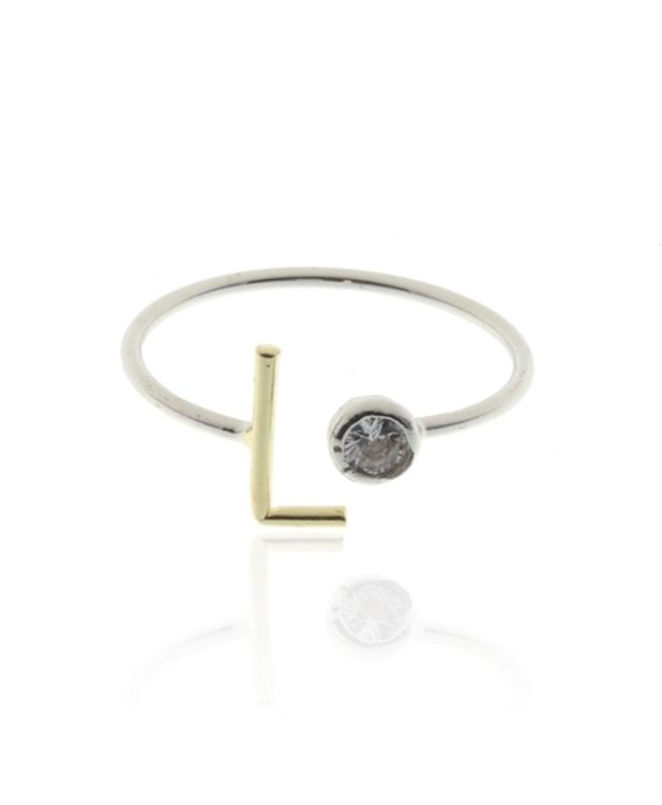Two Tone Initial L Ring