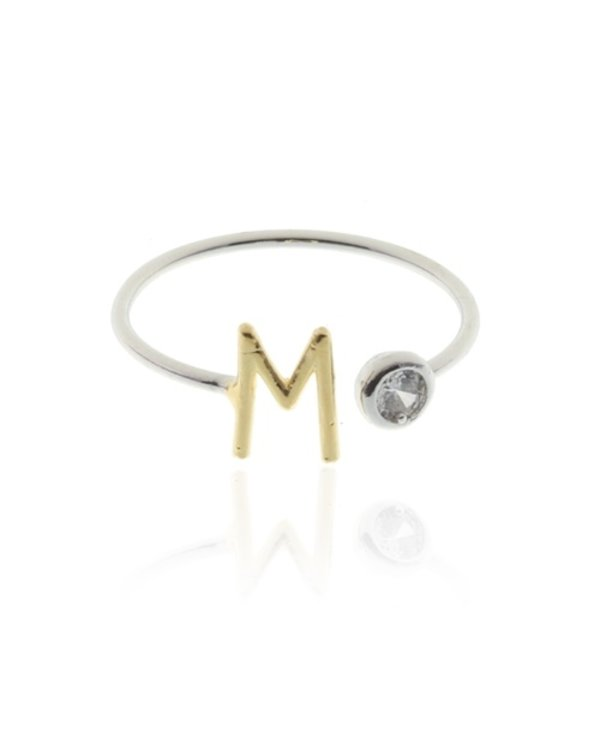 Two Tone Initial M Ring
