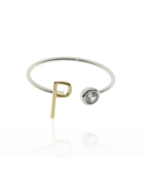 Two Tone Initial P Ring