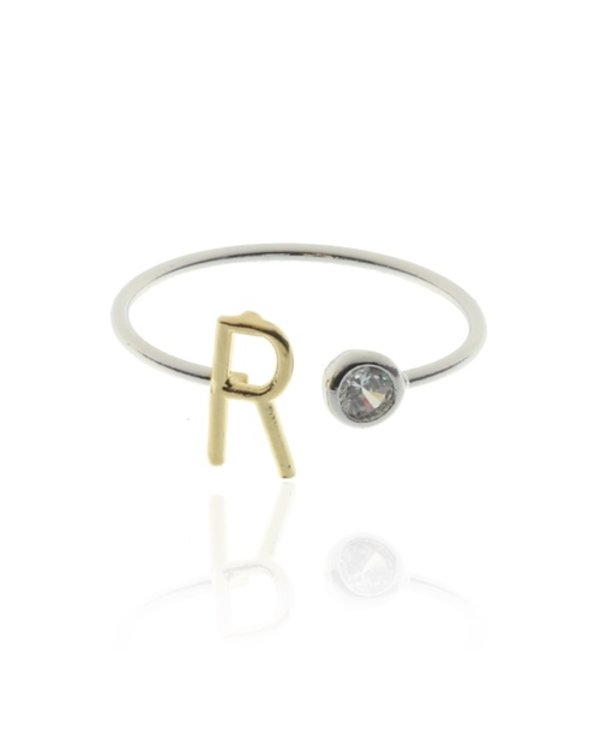 Two Tone Initial R Ring