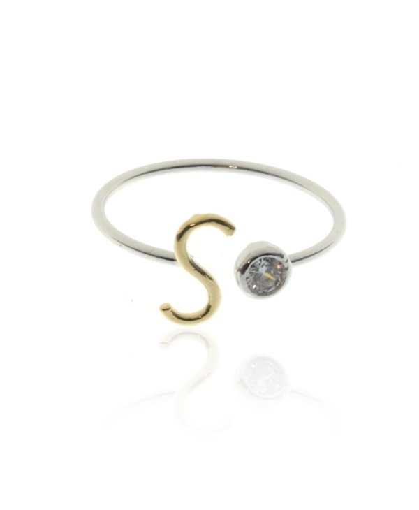 Two Tone Initial S Ring