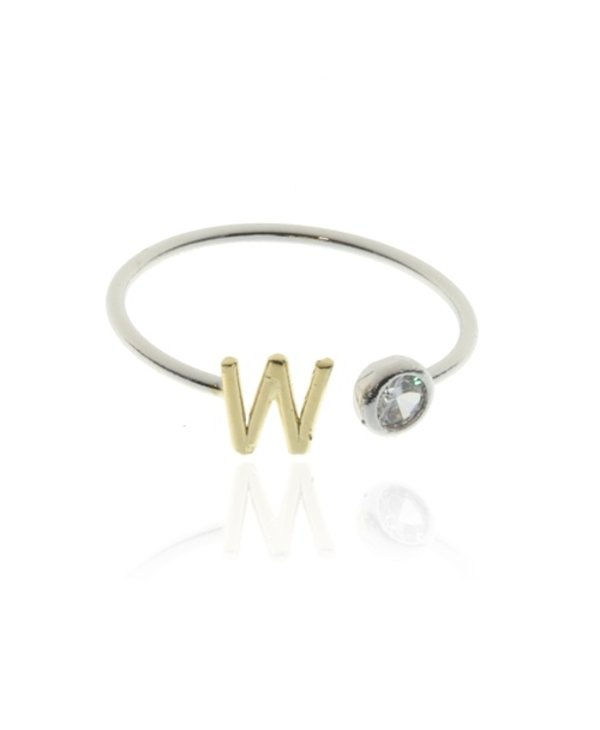 Two Tone Initial W Ring