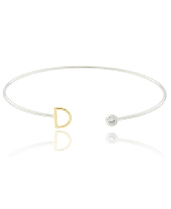 Two Tone Initial D Bangle