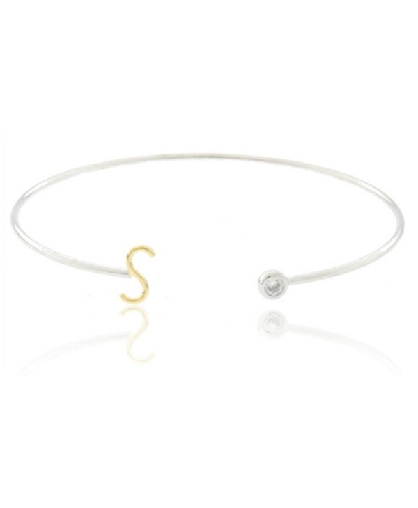Two Tone Initial S Bangle