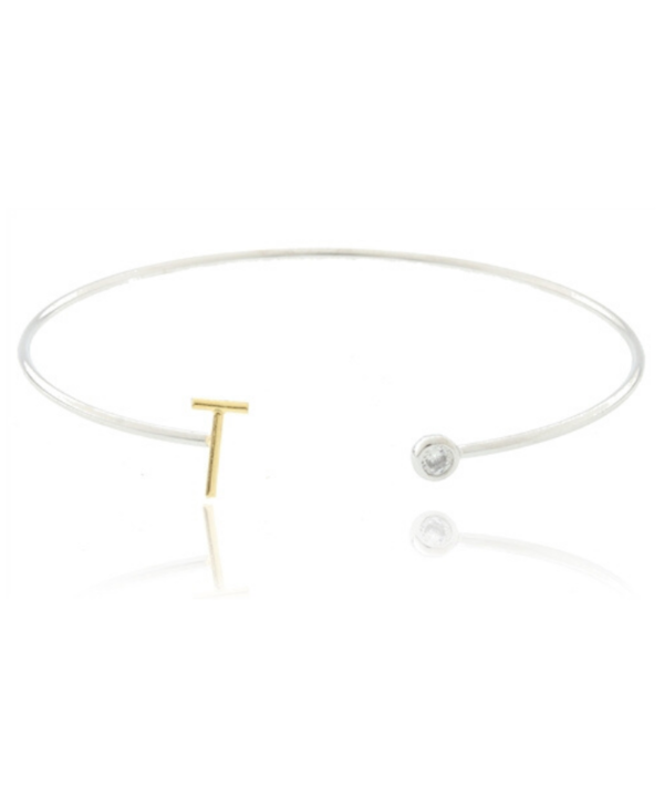 Two Tone Initial T Bangle