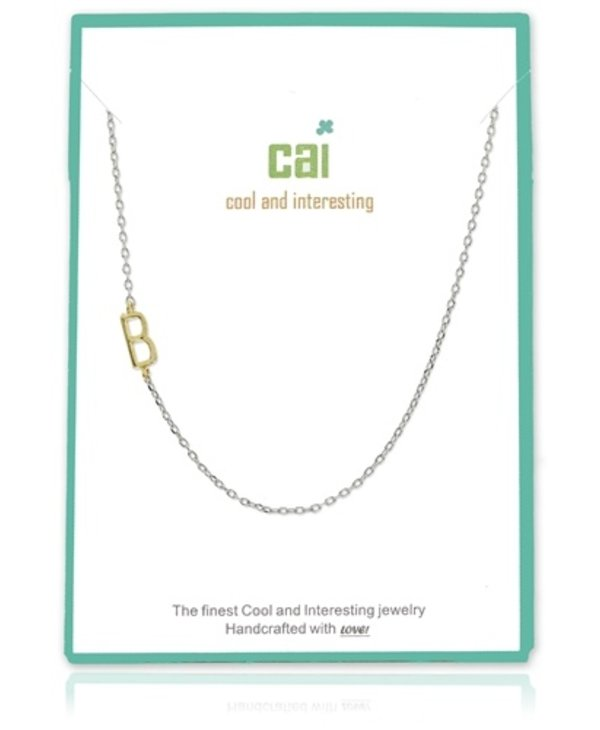 Two Tone Initial B Necklace