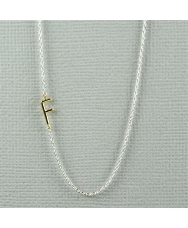Two Tone Initial F Necklace