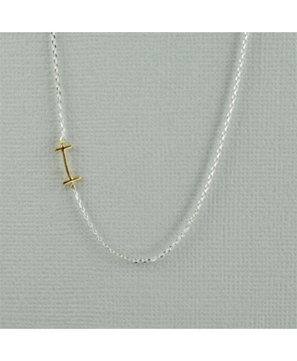 Two Tone Initial I Necklace