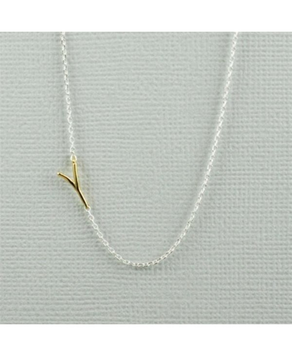 Two Tone Initial Y Necklace