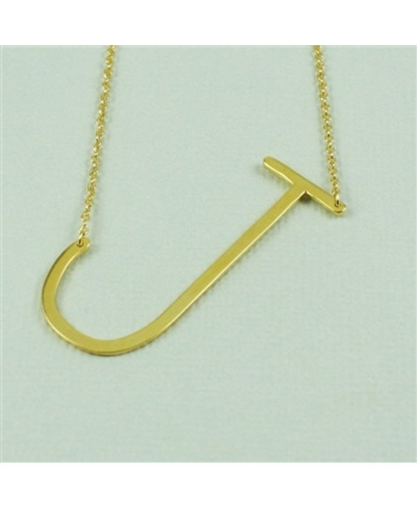 Large Initial J Necklace