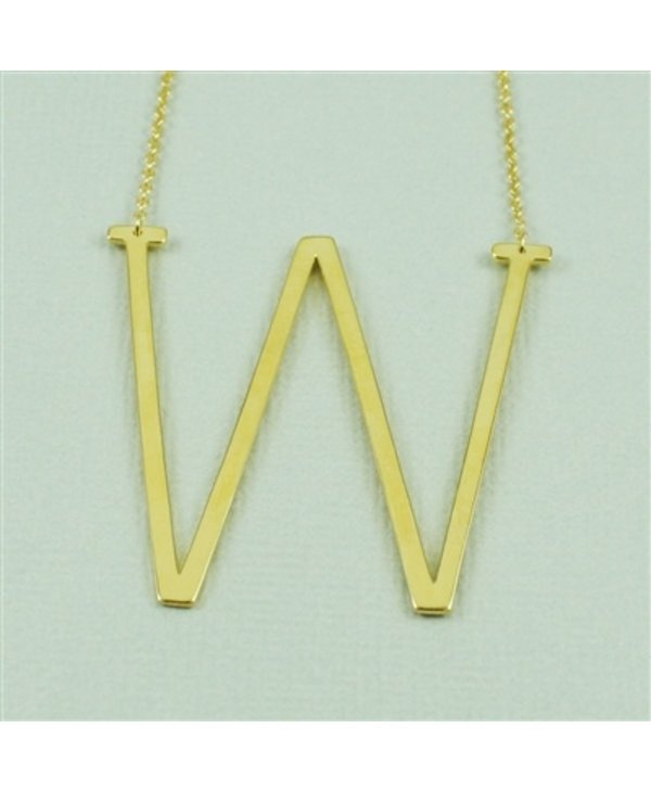 Large Initial W Necklace