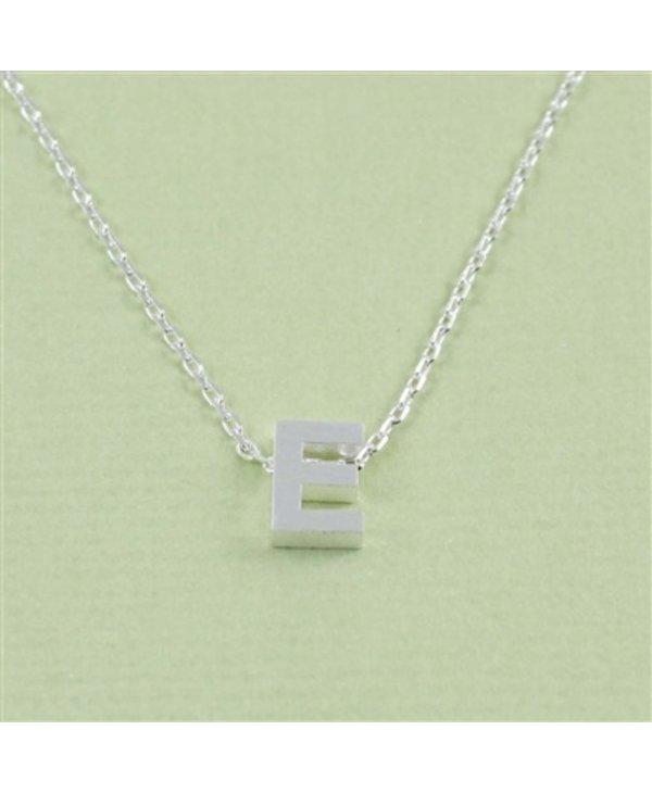 Block Initial E Necklace