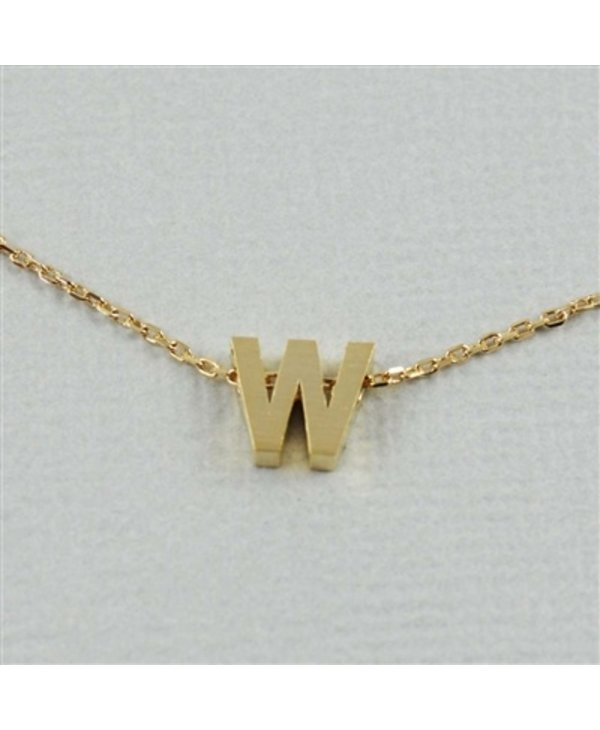 Block Initial W Necklace