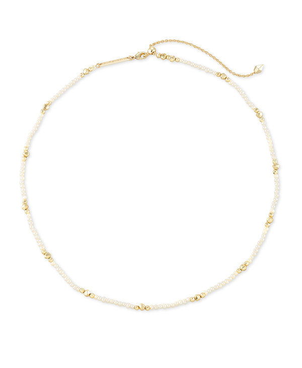Scarlet Gold Collar Necklace in White Pearl