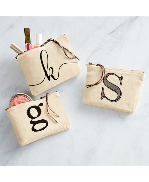 Canvas Initial Pouch