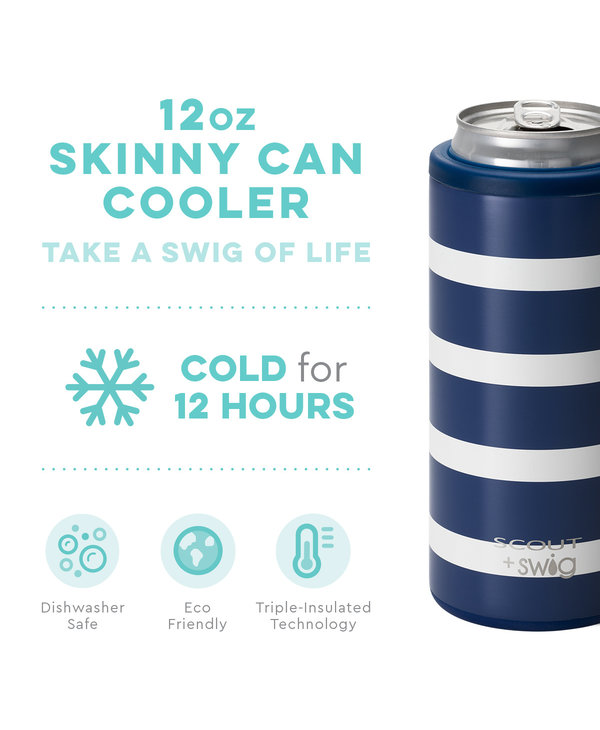 SCOUT + Swig 12oz Skinny Can Cooler in Nantucket Navy