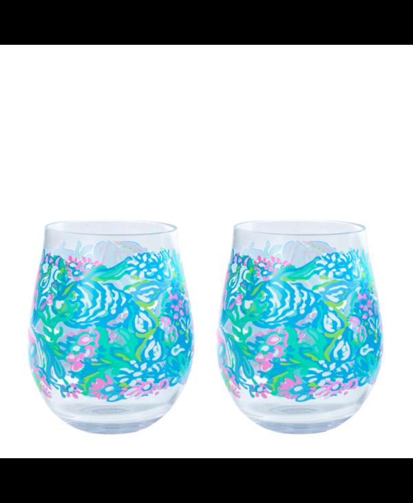 Acrylic Wine Glass Set in Aqua La Vista