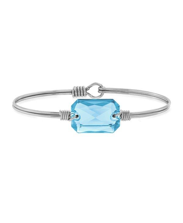 Dylan Bangle Bracelet Aquamarine in Silver