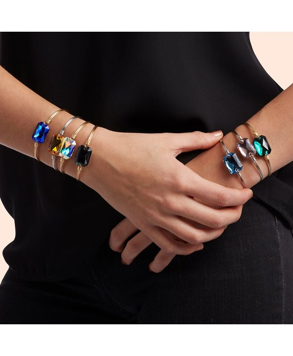 Dylan Bangle Bracelet Aquamarine in Gold
