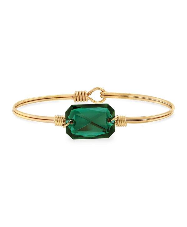 Dylan Bangle Bracelet Emerald in Gold