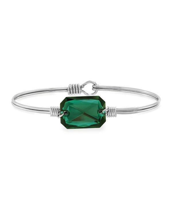 Dylan Bangle Bracelet Emerald in Silver