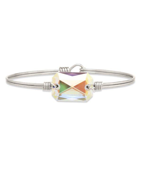 Dylan Bangle Bracelet Aurora Borealis in Silver