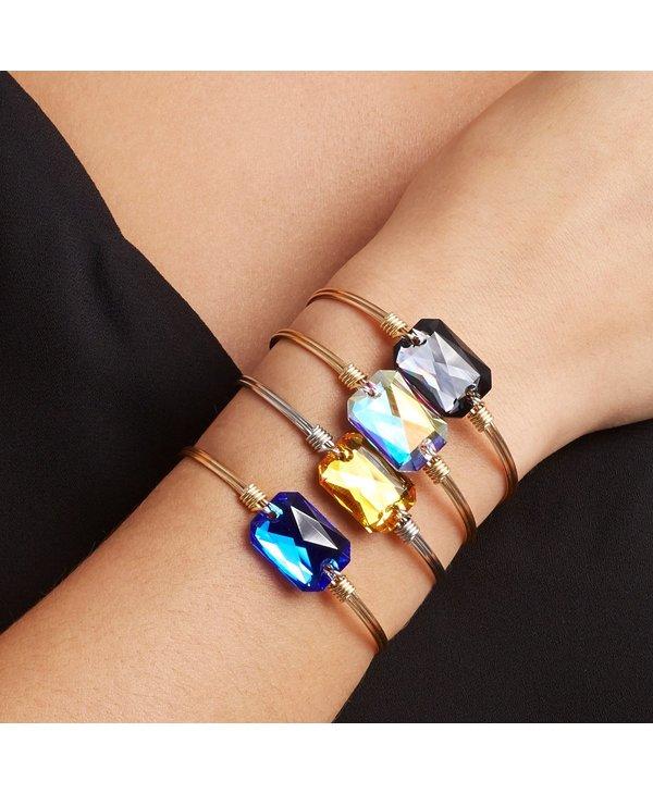 Dylan Bangle Bracelet Graphite in Gold