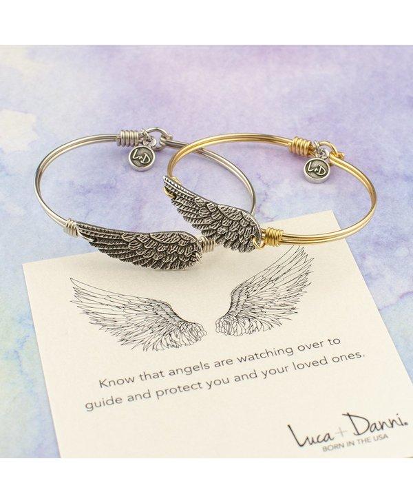 Angel Wing Bangle Bracelet in Silver