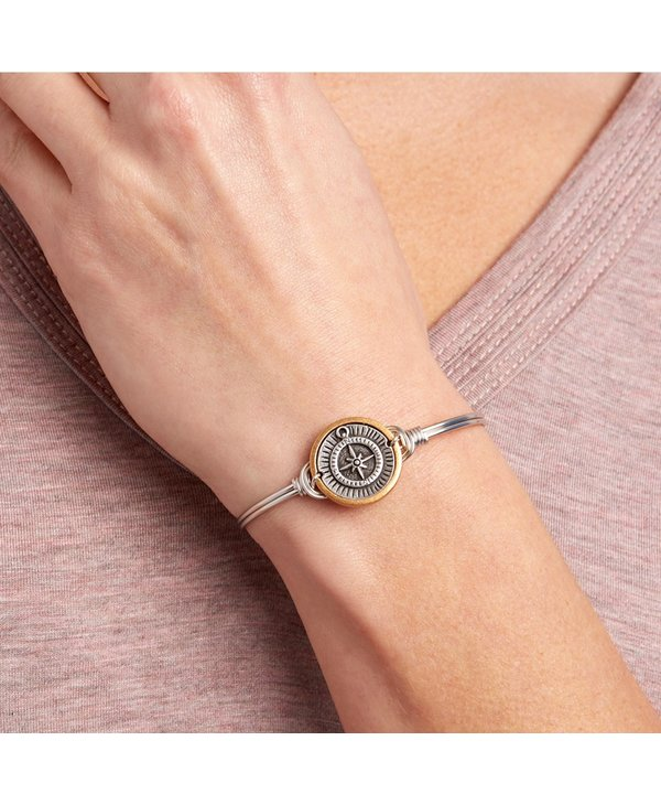 Compass Bangle Bracelet in Silver