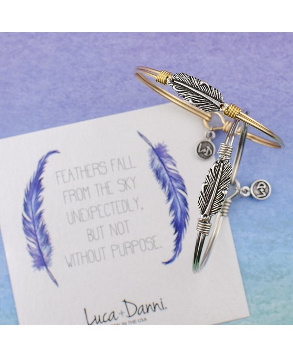 Mini Lucky Feather Bangle Bracelet in Silver