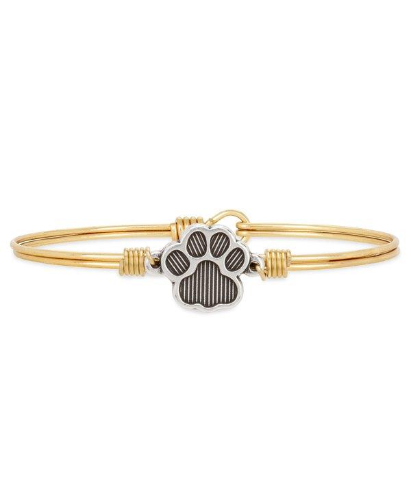 Pawprint Bangle Bracelet in Gold