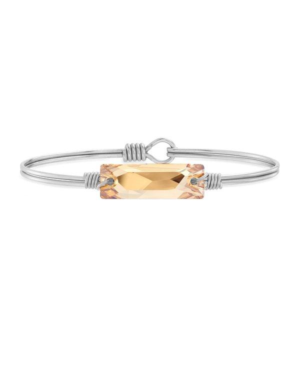 Hudson Bangle Bracelet Champagne in Silver