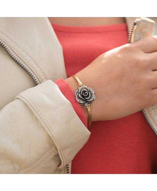 Rose Bangle Bracelet in Gold