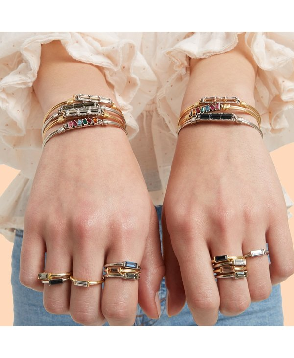 Mini Hudson Bangle Bracelet Crystal in Gold