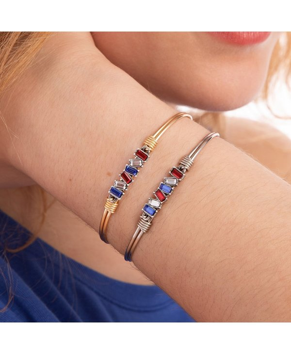 Mini Hudson Bangle Bracelet Americana Ombre in Silver