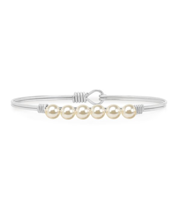 Crystal Pearl Bangle Bracelet Classic White in Silver