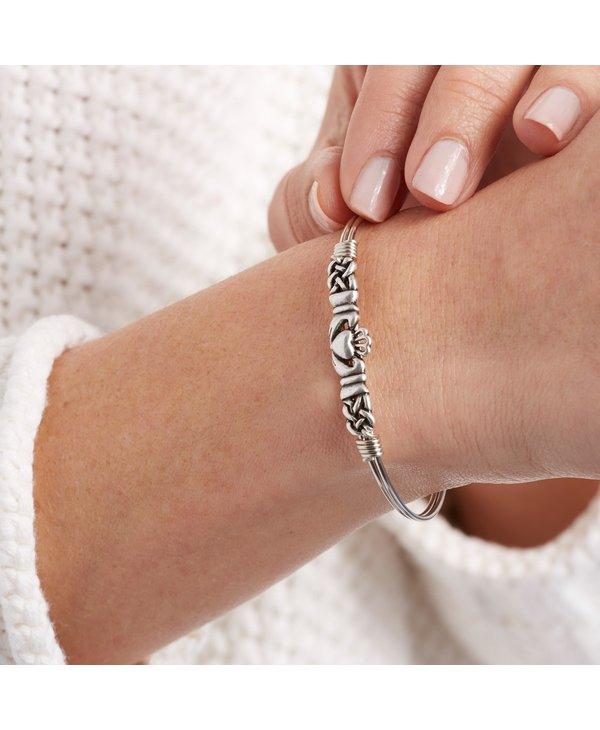 Claddagh Bangle Bracelet in Silver