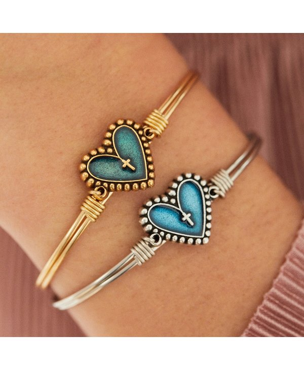 Rosary Heart Bangle Bracelet in Silver