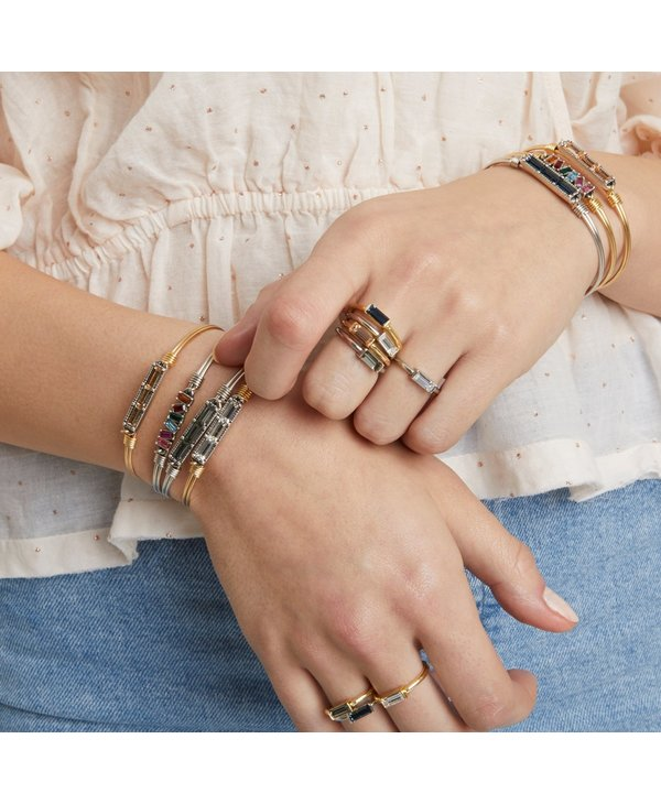 Mini Hudson Bangle Bracelet Black Diamond in Gold