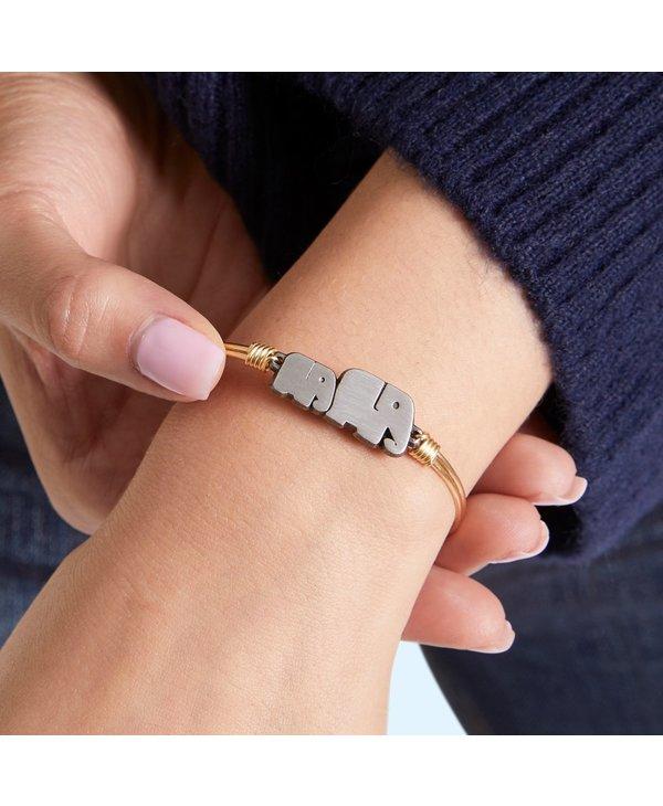Mama Elephant Bangle Bracelet in Gold