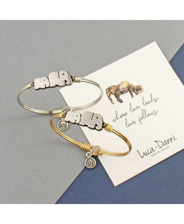 Mama Elephant Bangle Bracelet in Silver