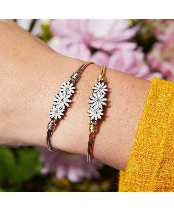 Daisies Bangle Bracelet in Silver