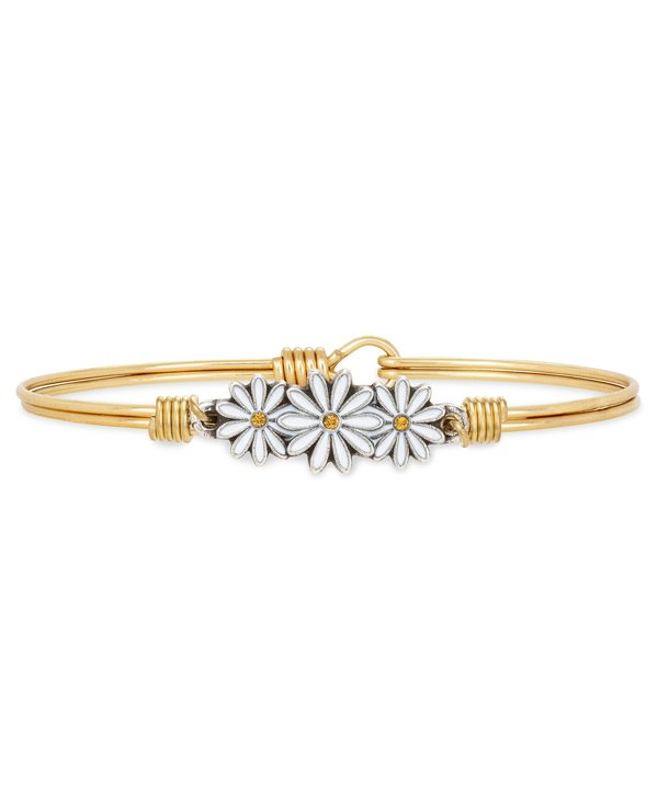 Daisies Bangle Bracelet in Gold