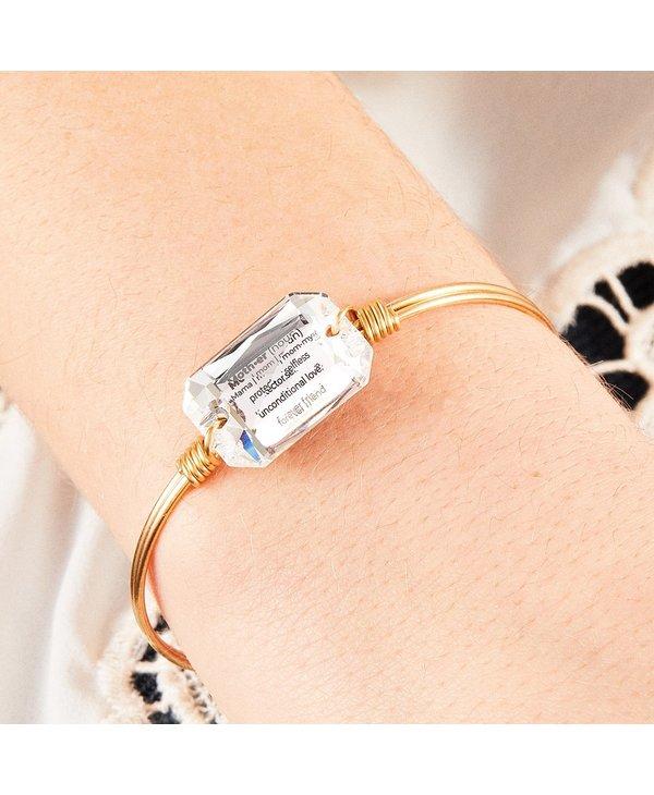 Mom Definition Bangle Bracelet Crystal in Gold