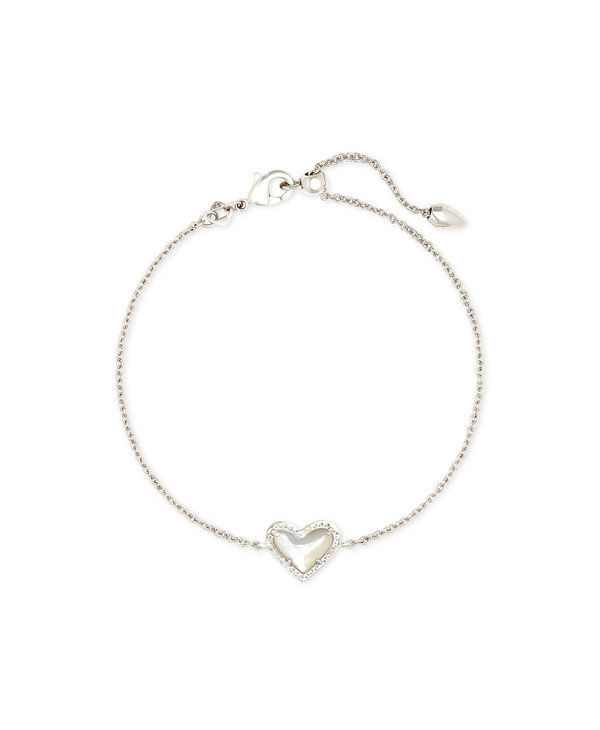 Ari Heart Silver Chain Bracelet in Ivory Mother-of-Pearl