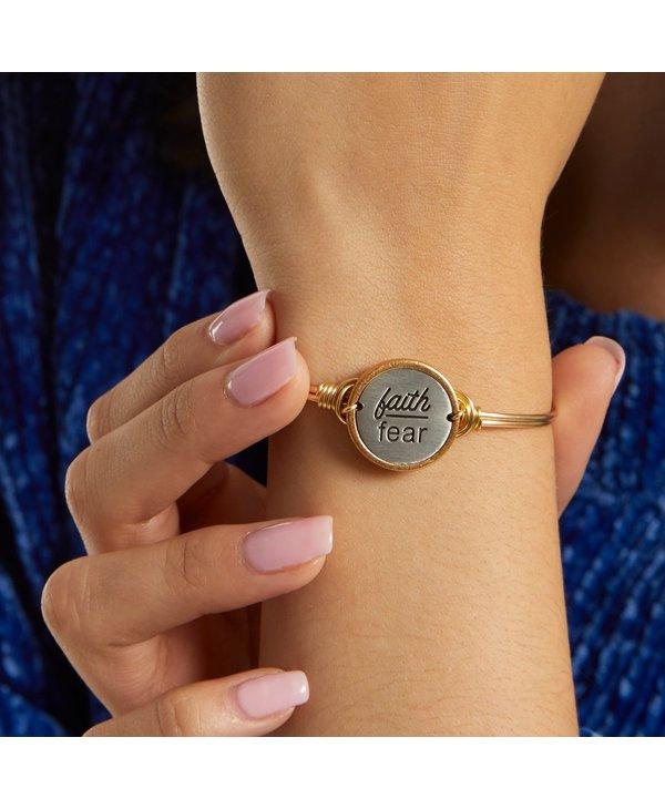 Faith Over Fear Bangle Bracelet in Silver