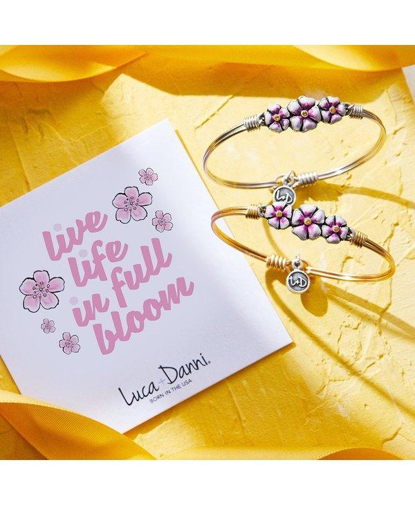 Cherry Blossom Bangle Bracelet in Gold