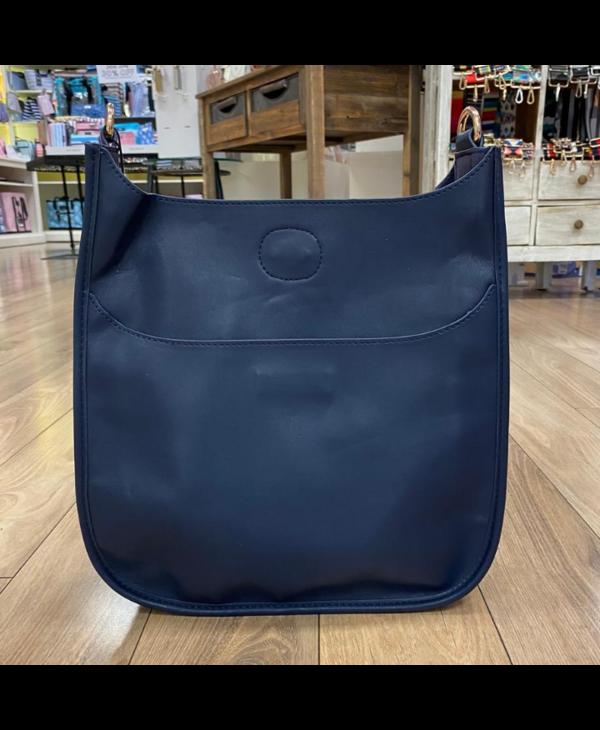 Navy Soft Faux Leather Messenger Bag - Gold Hardware