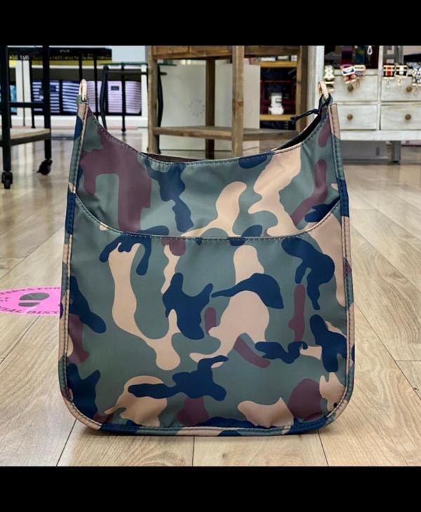 Army Camo Nylon Messenger Bag with Stripe Strap - Gold Hardware